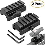 """Picatinny Riser Mount, GUNPOW 2 Pack Low Profile Rail Riser Mount Adaptor with 5-Slot Picatinny Rails, QD Quick Release Lever Lock, Allen Wrenchs, For AR15 Rifle Red Dot Sight Scope Optic,1/2""""Hx2.5''L"""