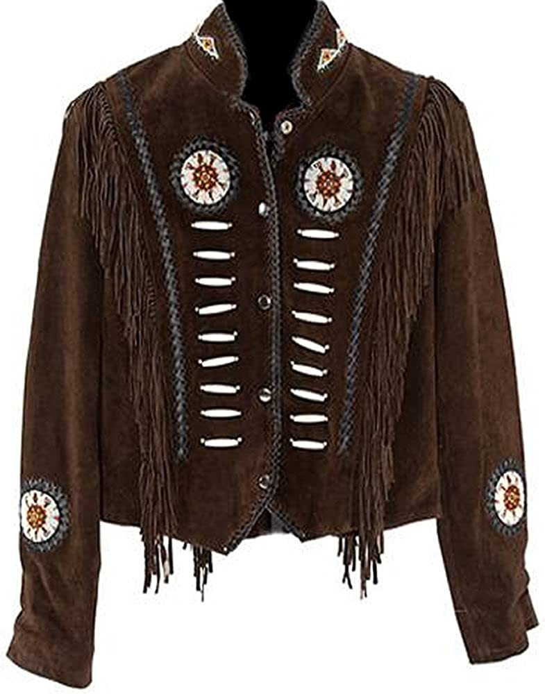 60s 70s Men's Jackets & Sweaters Classyak Western Suede Leather Jacket with Beads Fringes and Bones Xs-4xl $159.92 AT vintagedancer.com