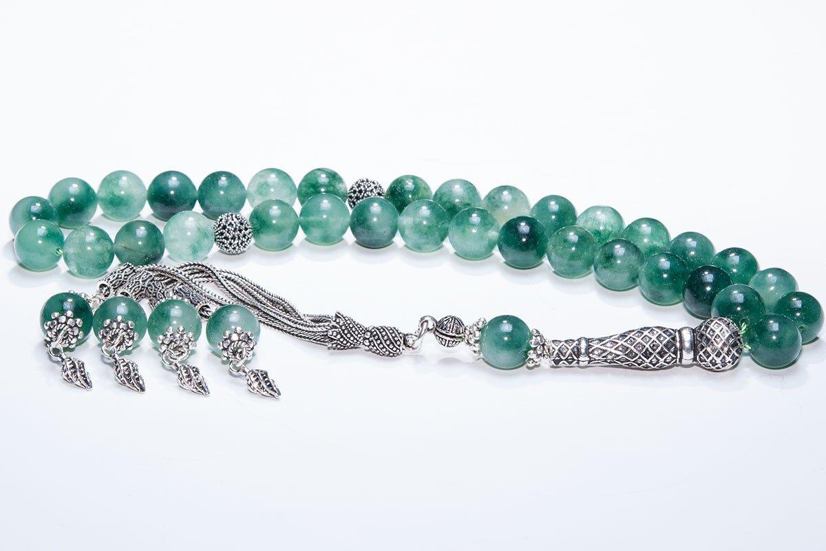 Muslim Prayer Beads made of 10 mm Canadian Jade Gemstone and Sterling Silver - islamic prayer beads, dhikr beads, tasbih, misbaha, sibha, muslim rosary, masbaha