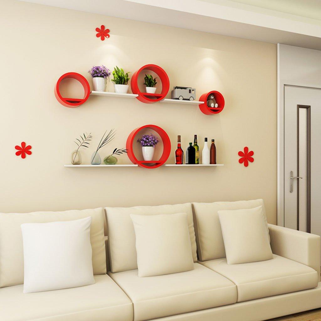 クリエイティブラウンドウォールシェルフリビングルームラウンドベッドルームテレビの背景壁の装飾壁のペンキの仕切り壁掛け本棚の中の4つの異なるサイズのセット赤黄色ピンク B07RSV5R74