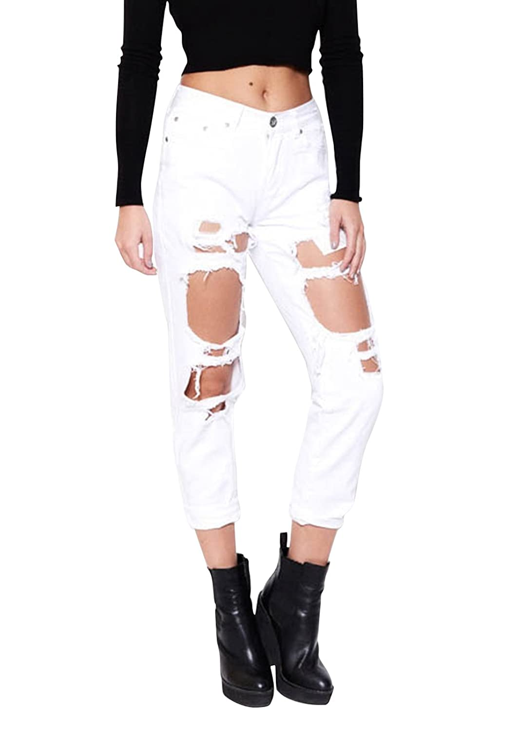 Wink Gal Women Coachella Destroyed Boyfriend Jeans Ripped Washed ...