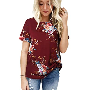 La impresión ocasional del verano camiseta floral simple y hermosa ...