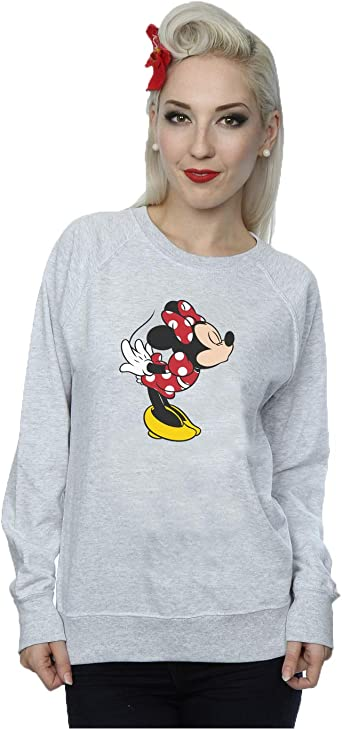 TALLA L. Disney mujer Minnie Mouse Christmas Silhouette Camisa de entrenamiento