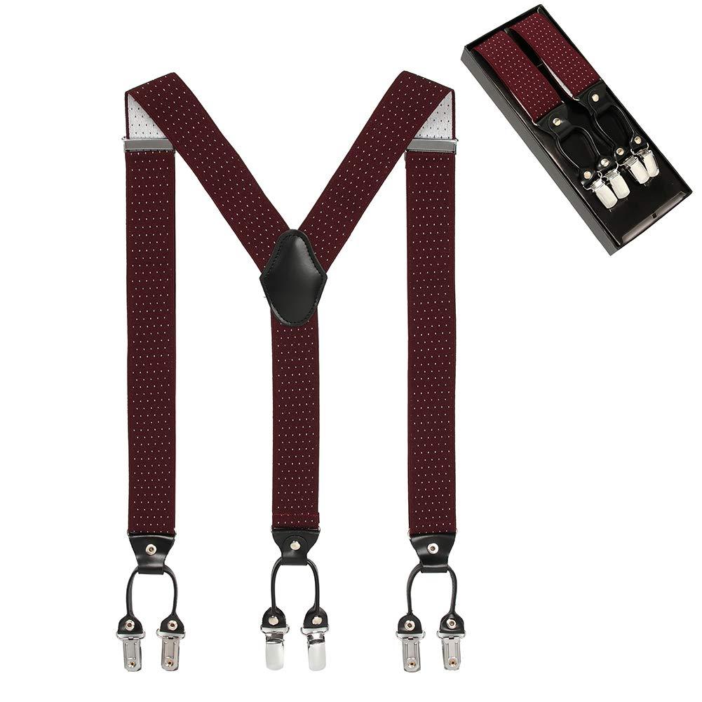 Men's Y Shape 6 Strong Clips Adjustable Elastic Suspenders-Heavy Duty Leather Braces (Coffee-Spot) by Suspenders Braces