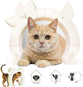 SlowTon Cat Door, Pet Door for Cats Interior Door 2 Way Kitty Hole Shape Pass Fits Hollow Core Glass Solid Door for Cats up to 21lbs, Hidden Litter Box in Basement Laundry Room Easy to Install