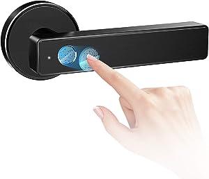 Keyless Entry Door Lock Smart Biometric Fingerprint Door Lock Safe Front Door Handle with Fingerprint Bluetooth App Key Unlock for Home Office Apartment Garage School Wooden Door by Nyboer (Black)