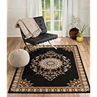 NEW CHATEAU S7 BLACK ORIENTAL FLORAL STYLE AREA RUG (2 X 3 ACTUAL IS 22 INCH X 35 INCH)
