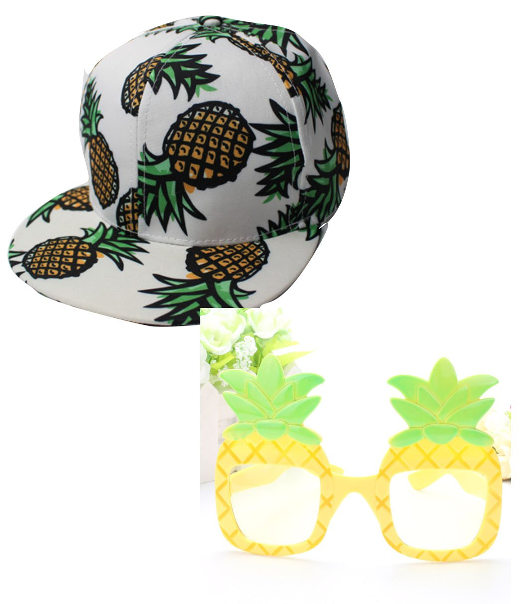 Set of 2 Pineapple Snapback Hat Adjustable Baseball Cap Hip-hop Hat Unisex & Funny Decorative Pineapple Beach Tropical Costumes Sunglasses Glitter