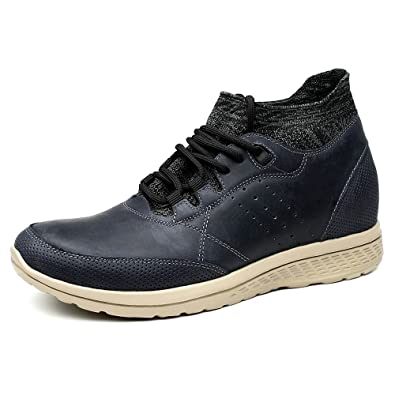 9ffbea79fe0f CHAMARIPA Casual Leather Shoes Retro Hidden High Heel Men Elevator Shoes  2.76 Inches Taller H81C83K021D Blue