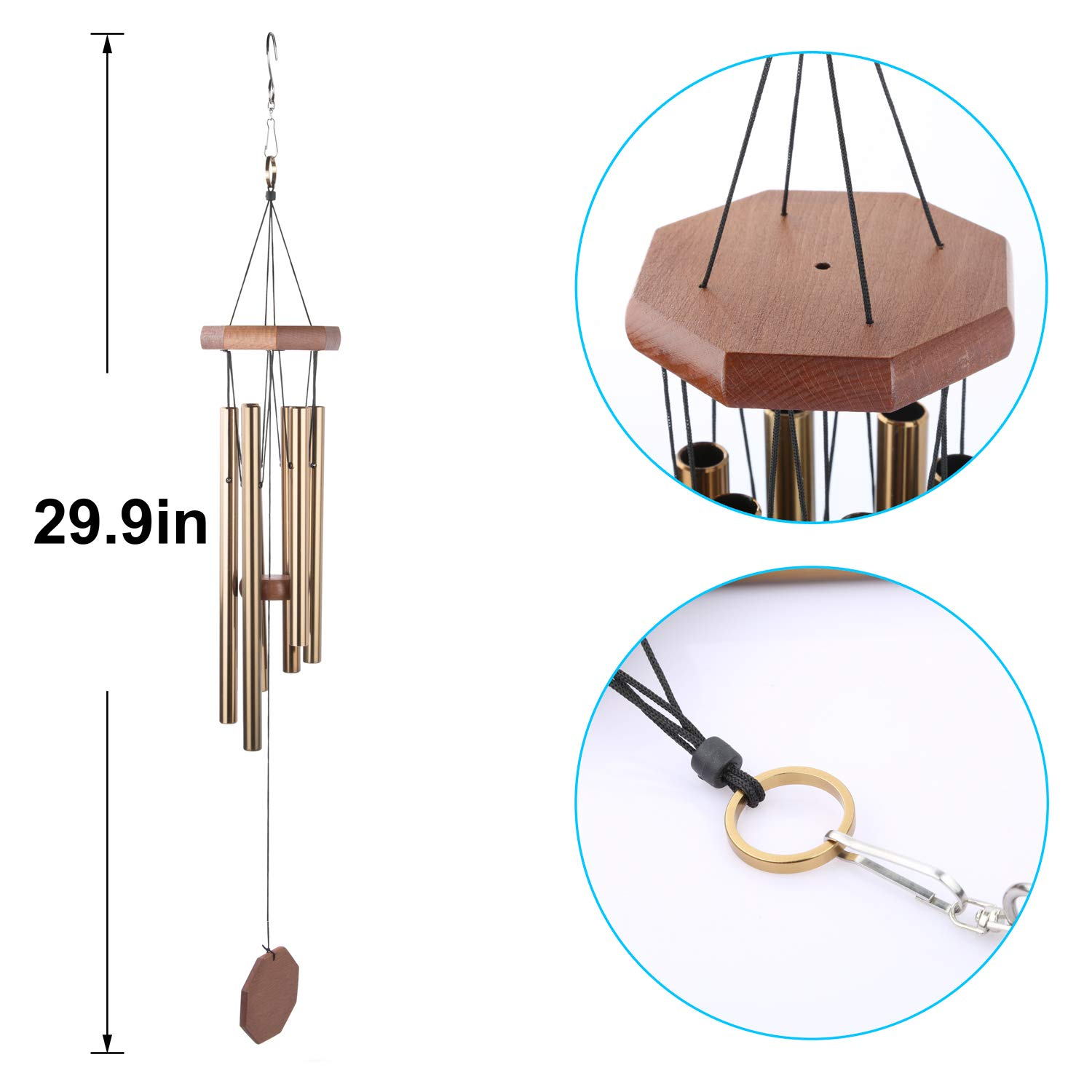 "Wind Chime, 29.9"" Wind Bell 6 Aluminum Tubes Beautiful Sound, Patio,Garden, Balcony,Yard,Porch,Outdoor,Indoor Décor"