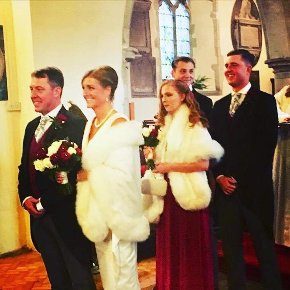 Kunstpelz Schal Stola Bolero Damen F/ür Frauen Hochzeit Abend Braut Brautschal Brautstola
