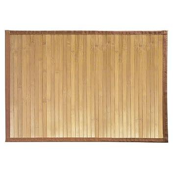 iDesign tapis de bain, petit tapis cuisine, salle de bain ou toilettes en  bambou, tapis de cuisine ou de salle de bain étanche, marron clair