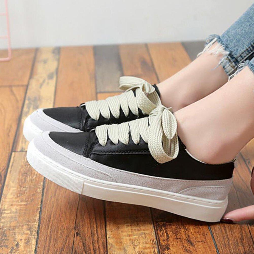 GAOLIXIA Damen Schuhe Damen Seidenturnschuhe flache Schuhe Damen schnüren sich Freizeitschuhe im Freien bequeme Sportschuhe schwarz grün rosa lila weiß schwarz 1bb66c