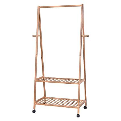 Beau TANGKULA Garment Rack Bamboo Coat Organizer With Clothes Hanger And Storage  Shelves (27u0027u0027
