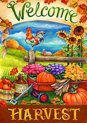 (Toland Home Garden 1112210 Harvest Welcome 12.5 x 18 Inch Decorative, Fall Autumn Pumpkin Wagon, Garden Flag)