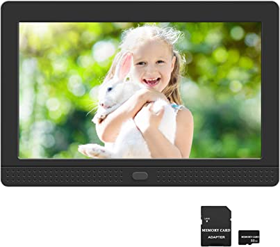 Support USB and SD Card 10 Inch Digital Photo Frame High Resolution Full IPS Display Photo Calendar Alarm Auto On//Off Timer Remote Control,Black