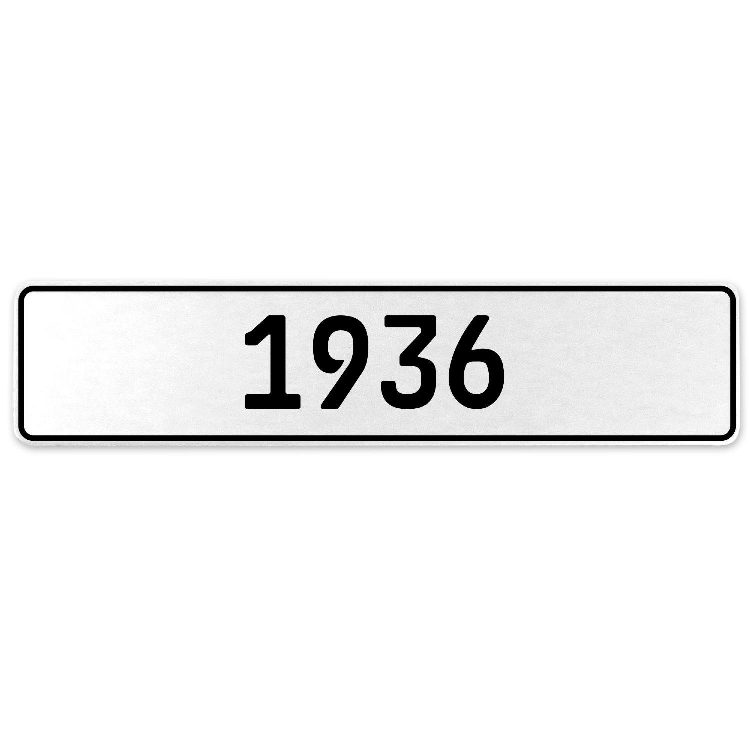 Vintage Parts 553179 1936 Year White Stamped Aluminum European License Plate