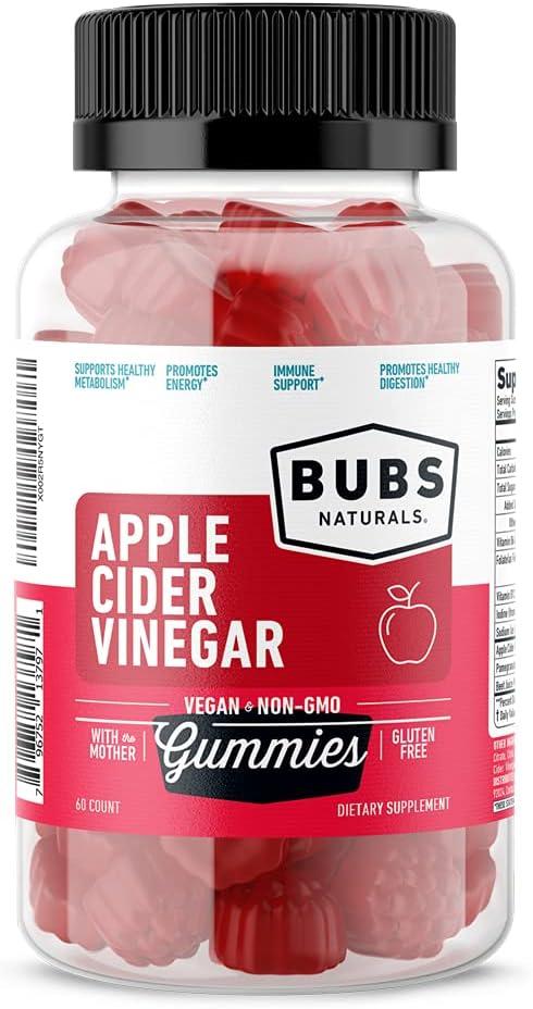BUBS Naturals Apple Cider Vinegar Gummies - All Natural Vegan ACV Gummy Vitamins - Supports Weight Loss, Detox, Digestion - Promotes Energy, Boosts Metabolism, B Vitamins - 60 Count