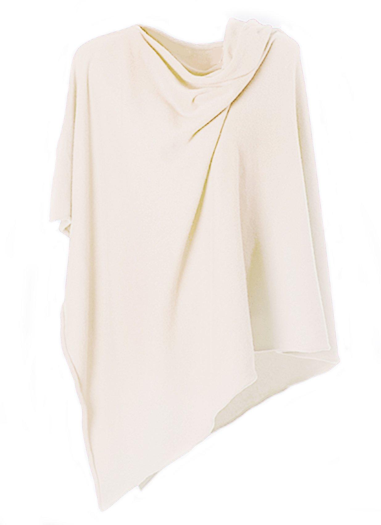 Anna Kristine Asymmetrical 100% Cashmere Draped Poncho Topper - Cream by Anna Kristine