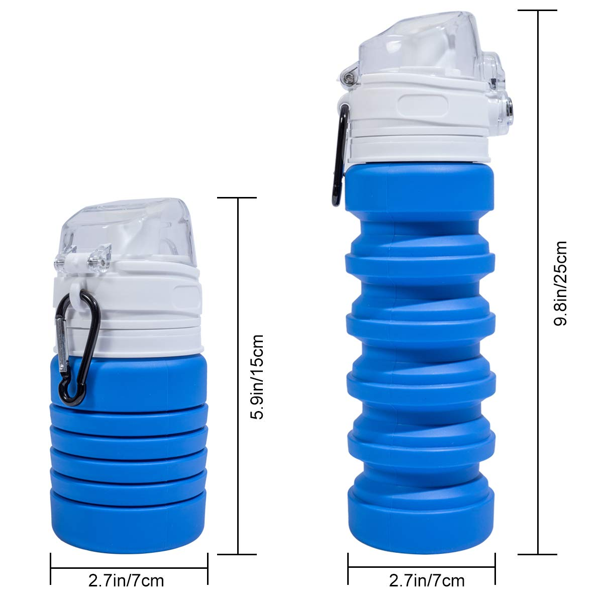 b79195d270c1 LIHEXING Collapsible Water Bottles,Food-Grade Soft Folding Water  Bottle,Lightweight Portable Bottle for Outdoors Camping Hiking Travel  Sports-Blue