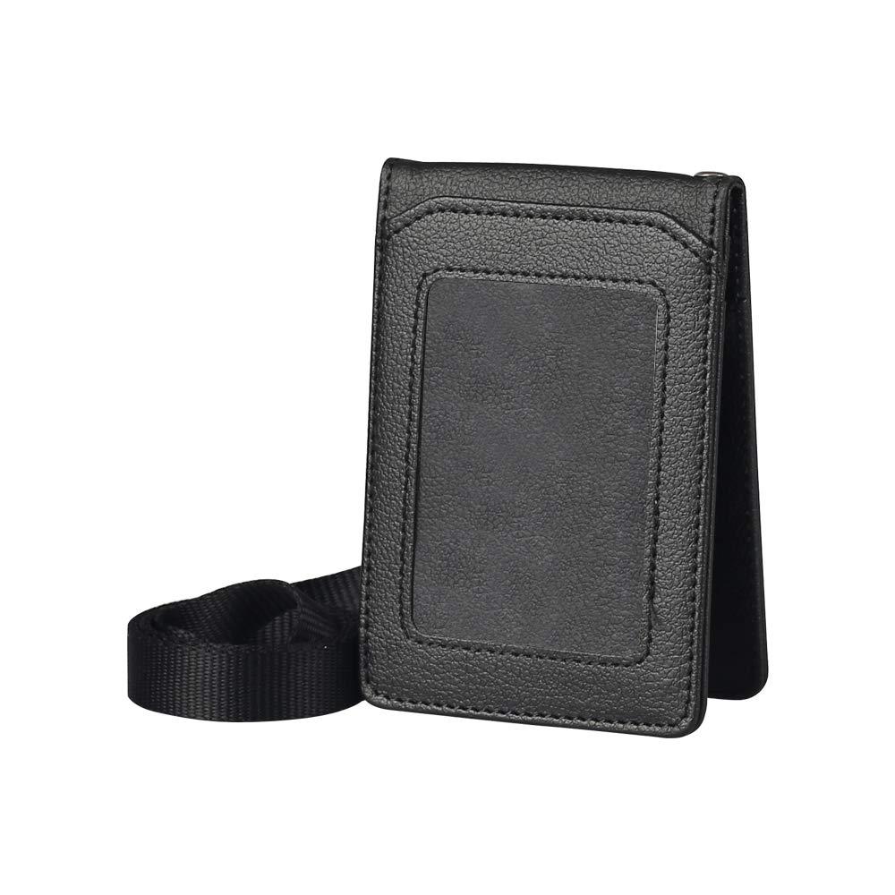 Zhi Jin porta carte di credito ideale per l/'ufficio e la scuola Blue organizer protettivo con 5 slot per schede 1 porta badge identificativo in pelle con cordino