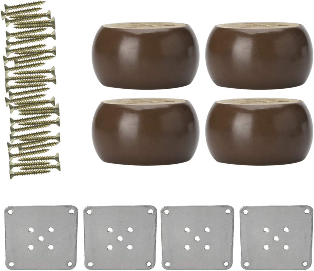 uxcell 2 inches Round Solid Wood Furniture Legs Sofa Couch Bed Desk Cabinet Feet Leg Replacement Set of 4