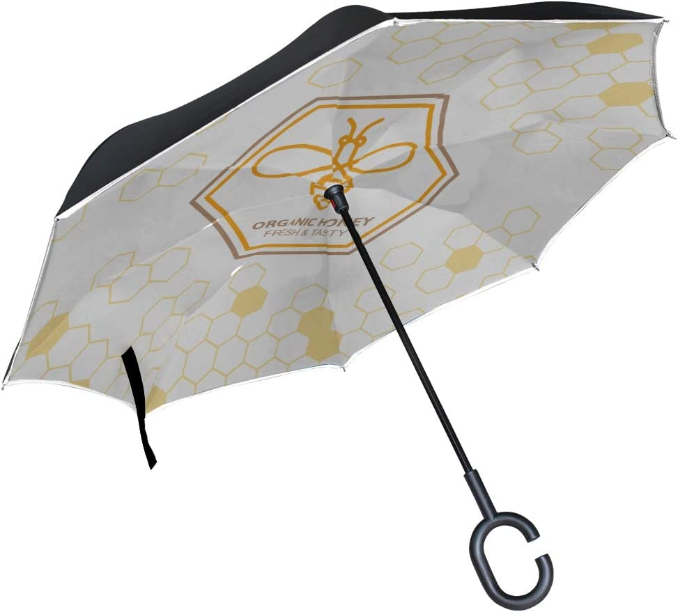 Double Layer Inverted Inverted Umbrella Is Light And Sturdy Outline Bee Symbol Reverse Umbrella And Windproof Umbrella Edge Night Reflection