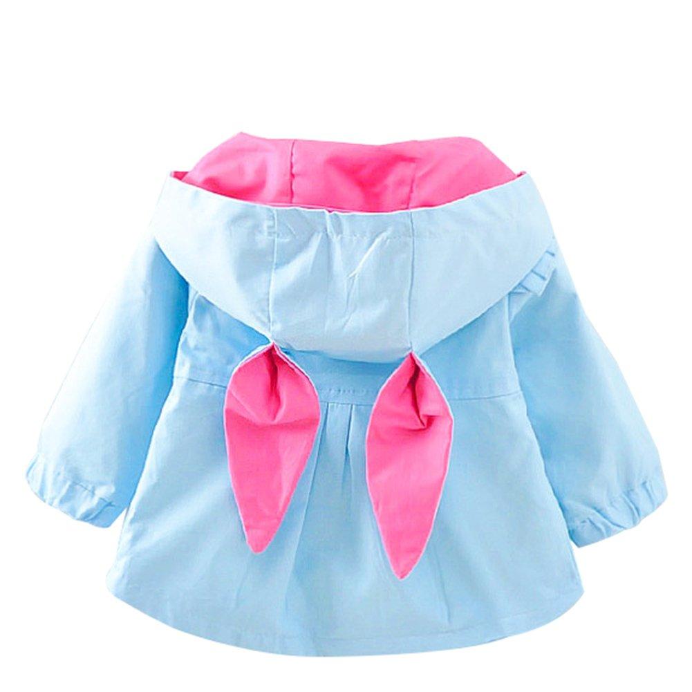 Baby Infant Girl Hooded Jacket Kids Rabbit Trench Coat Outwear