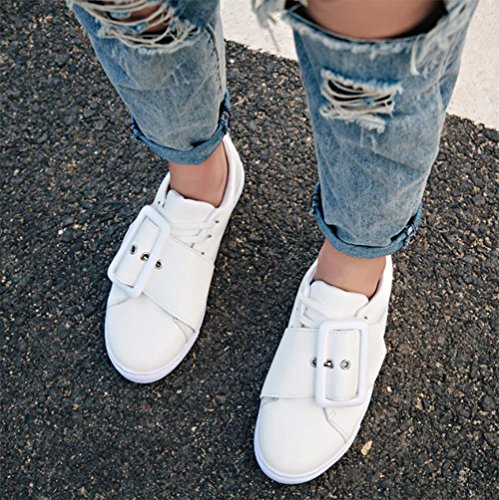 Buckle Schuhe, flache Schuhe niedrige runde Single zu helfen, Schuhe Freizeitschuh Frau weibliche Dame Schuhe Frühling Aufzug Schuhe white