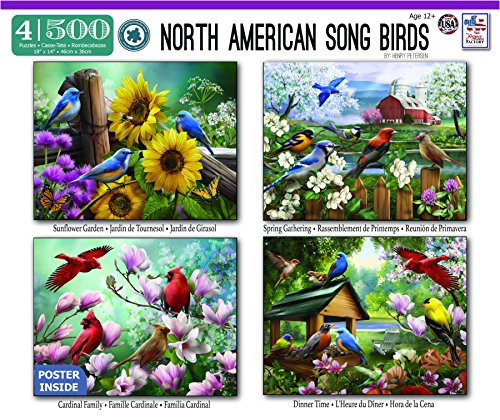 The Jigsaw Puzzle Factory North American Song Birds 4-in-1 Puzzle Pack Toy, Multicolor - 1 Puzzle Pack
