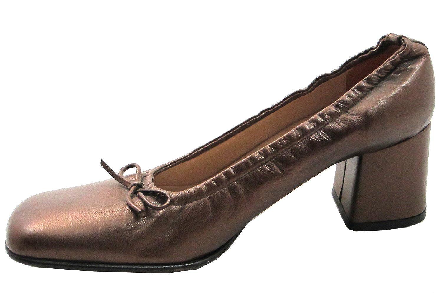 Davinci 559 Womens Italian Square Toe Mid Heel in Bronze