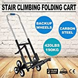 Heavy Duty Stair Climbing Cart 420 Lb Capacity All Terrain Stair Climbing Hand Truck with Backup Wheels 6 Wheels Portable Folding Hand Truck for Transporting Carrying