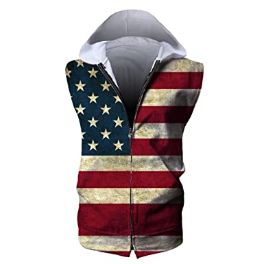 8f2b8fd146858 MSACRH Fashion Cool Unisex American Flag Sleeveless Hooded 3D Print Zipper  Hoodie Tank Tops