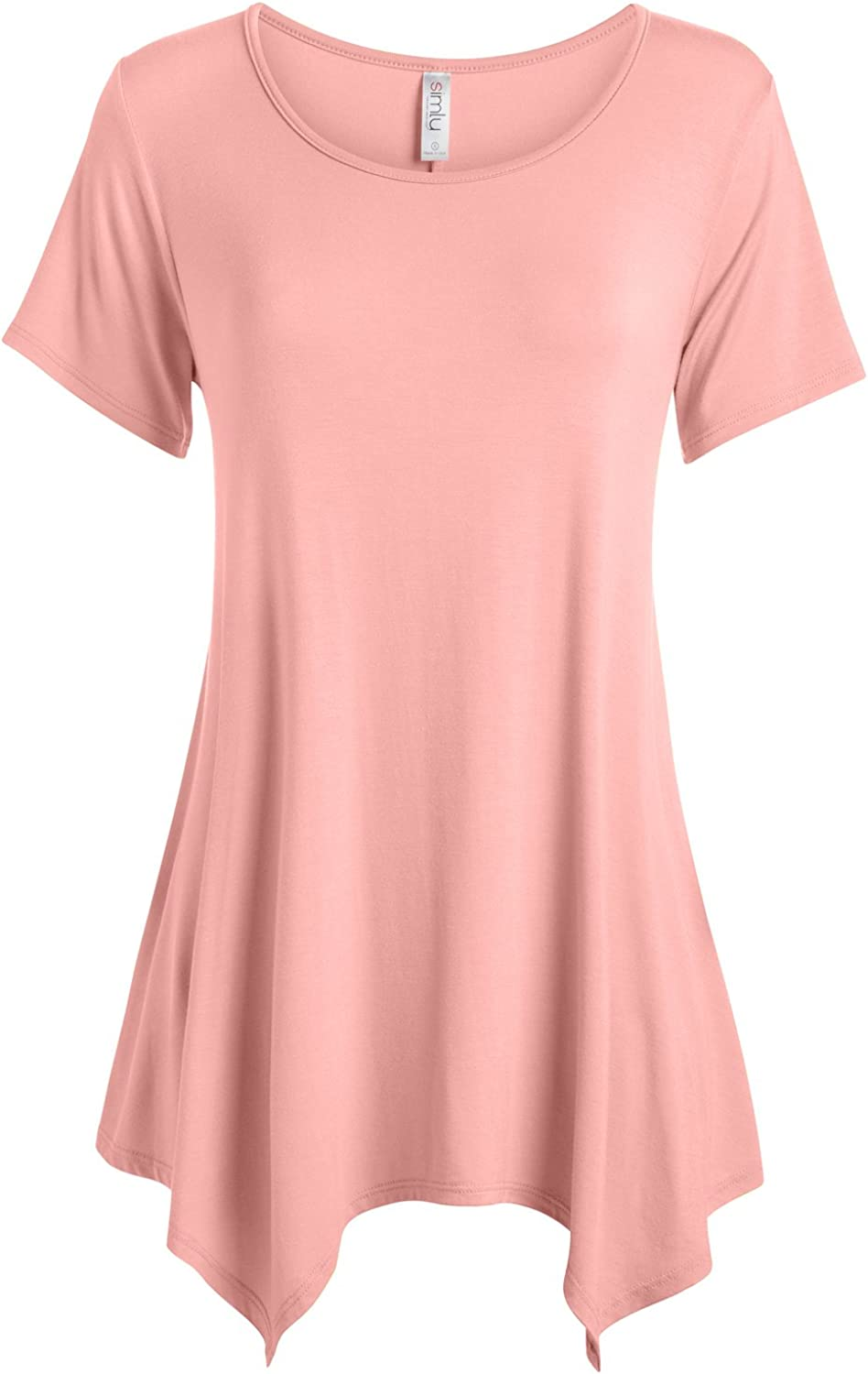Womens Basic Tunic Top Reg and Plus Size Short Sleeve Flowy Loose T Shirt USA