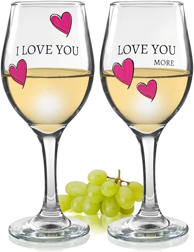 I Love You More  I Love You Most Wine Glass Set