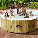 COSTWAY 6 Person Inflatable Hot Tub for Portable Outdoor Jets Bubble Massage Spa Relaxing w/Accessories (Beige)