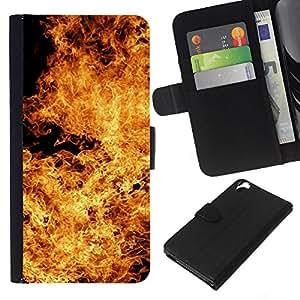 EJOY---La carpeta del tirón la caja de cuero de alta calidad de la PU Caso protector / HTC Desire 820 / --Las llamas del infierno Diablo Símbolo Fuego Amarillo
