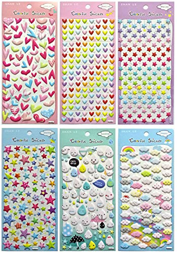 Asian108Markets Colorful Sticker with Rainbow Cloud Star Raindrop Heart Water Drop Shape (6 Sheets Reusable Puffy Decorative Scrapbooking Sticker) SET063-COLORFUL_V2