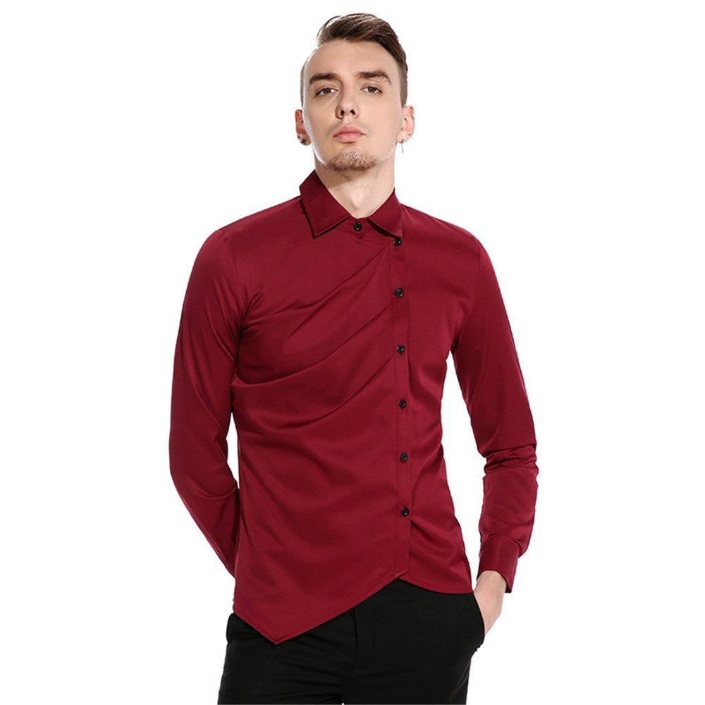 Männer lässig Hemd persönlichkeit ungewöhnlich hohe qualität langärmliges Hemd,EIN Bordeaux - Wein,XXL