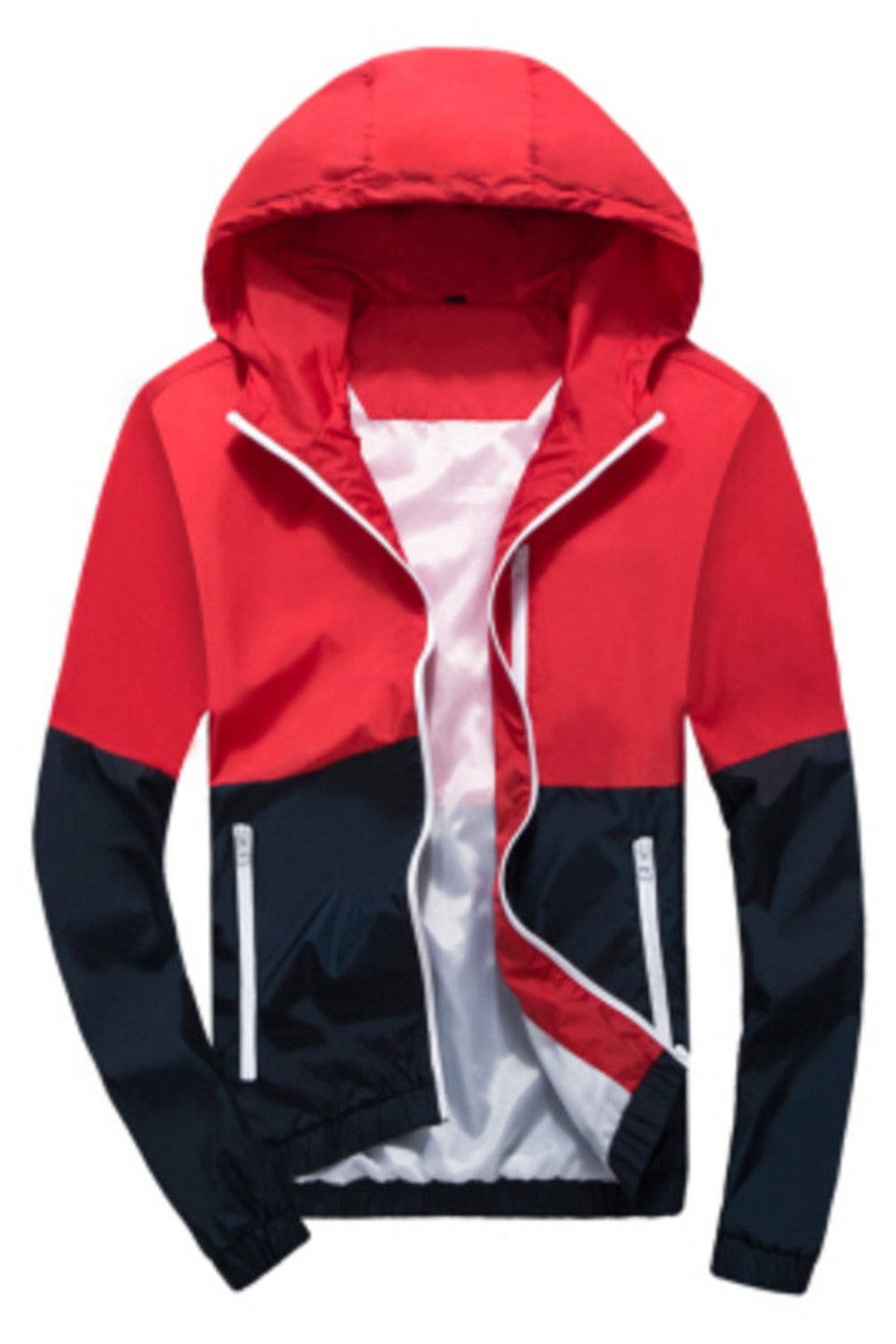 Happyyip Womens Light Weight Outdoor Hooded Windbreaker Sports Outwear Jacket (US S/Asian Tag M, Red)