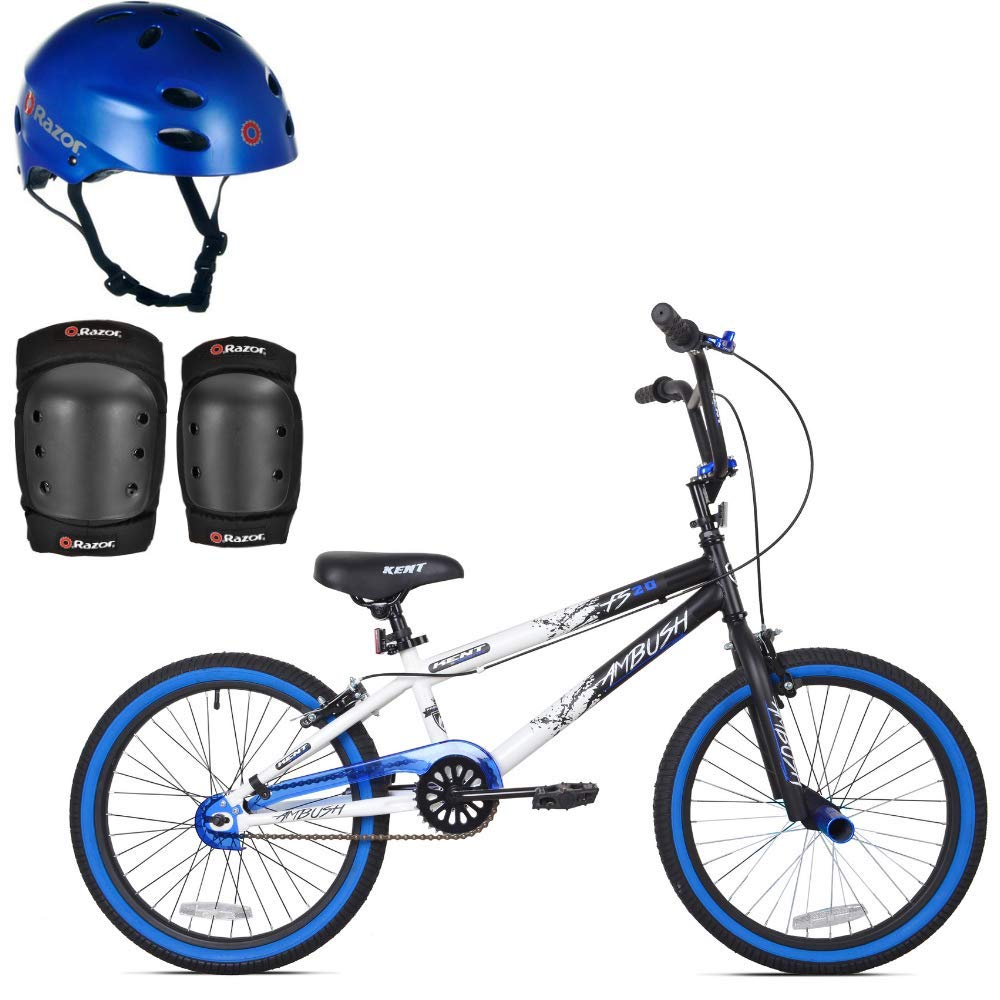 *KENT Bundle - 20'' Boys', Ambush BMX Bike, Blue with Multi-Sport Helmet and Protective Pad Set, Black, Ages 8-14