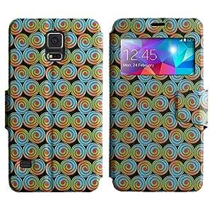 LEOCASE círculos fresco Funda Carcasa Cuero Tapa Case Para Samsung Galaxy S5 I9600 No.1005839