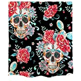 Orange Design Artistic Skull Flower Cactus Shower Curtain Black Red Watercolor Mexican Celebration Day of The Dead Home Bathroom Fabric Curtain Decor 71x71 inch