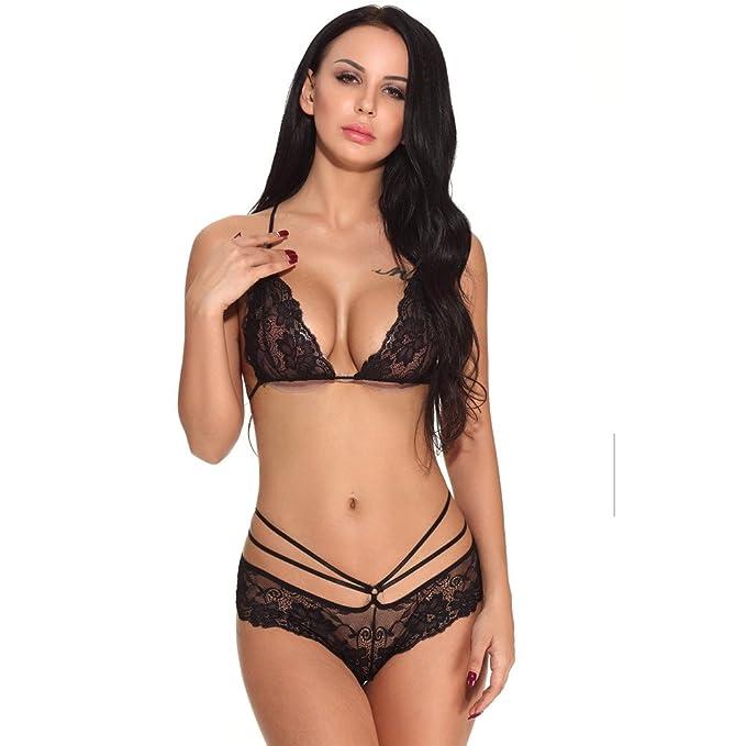 e3dd59710d AIMEE7 Lenceria Sexy Mujer Lencería Sexy de Encaje para Mujeres Sujetador  Bralette + Tanga Conjunto de