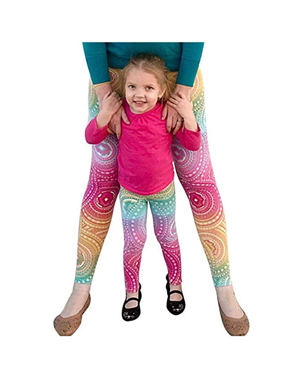 YT Baby Mommy and Me Matching Yoga Leggings Family Matching Printing High Waist Gym Fitness Workout Pants