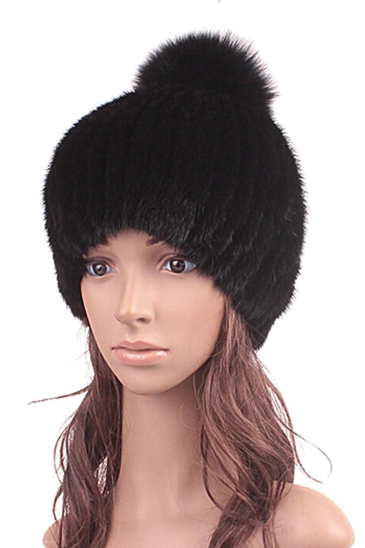 queenshiny Damen 100% Echte Knit Strick Gestrickter Nerz Pelz und Fuchs Pelz Ball Muetze Kappe Hut Winter