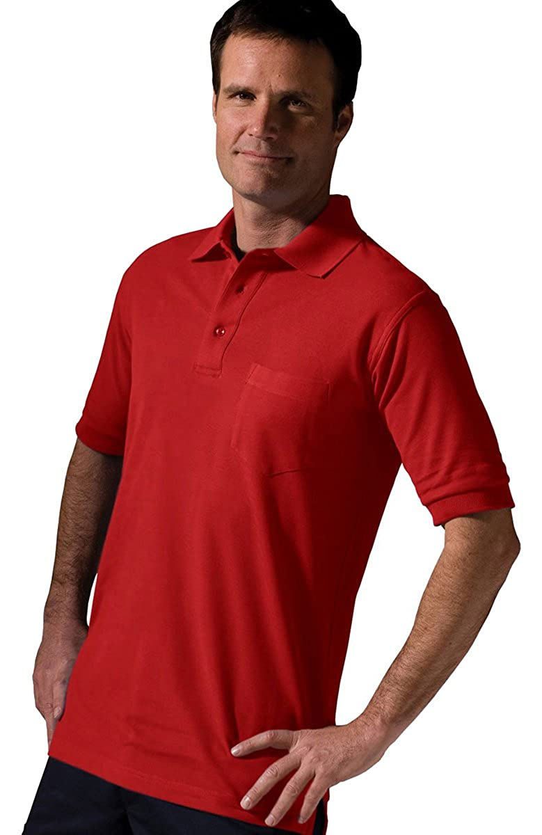 Edwards Garment Big And Tall Short Sleeve Pique Polo Pocket Shirt/_RED/_XX-Large