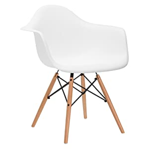 nufurn Eames Style Designer Dining/Living Room Chair with Arms (White)