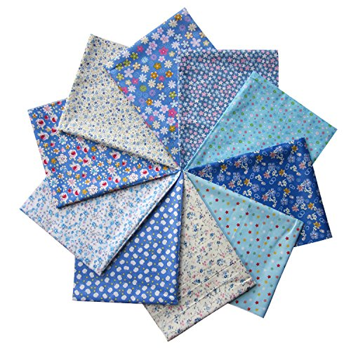 Grannycrafts 10pcs 40x50cm Top Cotton Printed Fat Quarters Craft Fabric Bundle Squares Patchwork Lint Print Cloth Fabric Tissue DIY Sewing Scrapbooking Quilting Blue Series