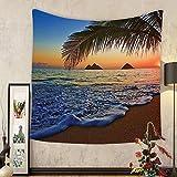Gzhihine Custom tapestry Hawaiian Decor Tapestry Pacific Sunrise At Lanikai Beach Hawaii Colorful Sky Wavy Ocean Surface Scene Dorm for Bedroom Living Room Orange and Blue